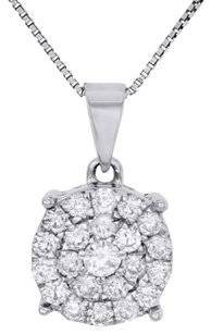 Other 10k White Gold Diamond Circle Pendant Ladies Cluster Charm W Chain 0.75 Ct.