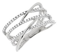 10k White Gold Diamond Linear Criss-cross Orbit Engagement Fashion Ring 0.40ct