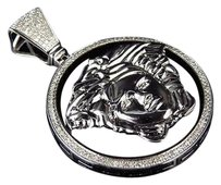 10k White Gold Genuine Diamond Bezel Black Onyx Medusa Pendant Charm 1.0ct