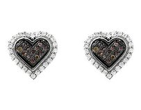 10k White Gold Heart Brown Cognac And White 10mm Diamond Earring Stud 0.25ct
