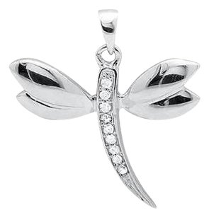 10k White Gold In-flight Dragonfly Genuine Diamond 34 Inch Pendant Charm 0.03ct
