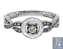 10k White Gold Ladies Brown White Diamond Halo Engagement Fashion Ring 14 Ct