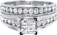 Other 10k White Gold Ladies Princess Diamond Bridal Ring Set 1.02ct