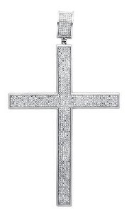 10k White Gold Multi Row Diamond Traditional Cross Inch Pendant Charm 3.0ct.