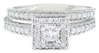 Other 10k White Gold Princess Cut Engagement Bridal Solitaire Diamond Ring Set 0.55 Ct