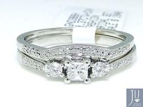 10k White Gold Round Cut Engagement Bridal Solitaire Diamond Ring Set 0.37 Ct