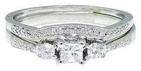 Other 10k White Gold Round Cut Engagement Bridal Solitaire Diamond Ring Set 0.37 Ct