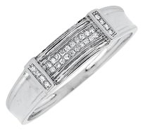10k White Gold Two Rows Collar Genuine Diamonds 5.5mm Band Wedding Ring 0.15ct.