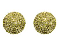 10k Yellow Gold 11mm 3d Beaded Round Genuine Canary Diamond Stud Earring 1.0ct.
