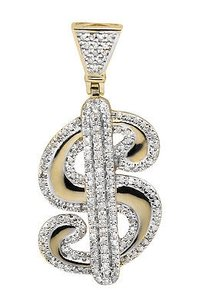 10k Yellow Gold 1.35 Inch Logo Dollar Sign Diamond Charm Pendant 0.75ct.