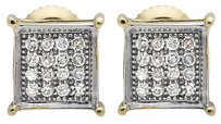 10k Yellow Gold 5mm Square Prong Kite Genuine Diamond Stud Earrings 0.15ct.