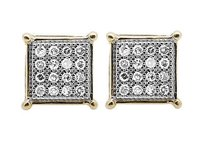 10k Yellow Gold 6mm Sharp Square Kite Genuine Diamond Stud Earring 0.15ct.