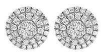 10k Yellow Gold 9mm Three Tier Round Genuine Diamond Stud Earring 1.35ct.