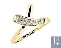 Other 10k Yellow Gold Bow Ribbon Criss-cross Genuine Diamond Band Ring 0.07ct.