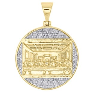 Other 10k Yellow Gold Diamond Last Supper Circle Medallion Pendant Pave Charm 0.48 Ct.