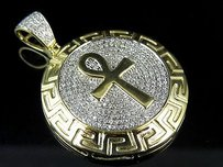 10k Yellow Gold Egyptian Ankh Medallion Real Diamond Charm Pendant 1.45 .85ct