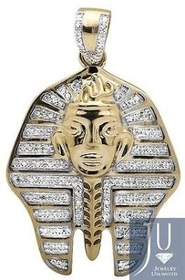 10k Yellow Gold Egyptian Pharaoh King Tut 1.5 Inch Diamond Pendant Charm 0.75ct.