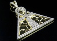 10k Yellow Gold Egyptian Pyramid Ankh Cross Genuine Diamond Charm Pendant 1.20ct
