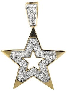 10k Yellow Gold Five Point Star 1 Inch Religious Diamond Pendant Charm 0.75ct.