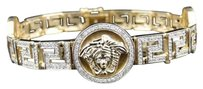 10k Yellow Gold Genuine Diamond Round Medusa Head Jesus Bracelet Bangle Ct