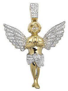 Other 10k Yellow Gold Inch Praying Hands Angel Genuine Diamond Pendant Charm 0.75ct.