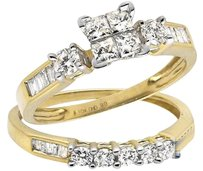 Other 10k Yellow Gold Invisible Set Princess Diamond Engagement Bridal Ring Set 0.90ct