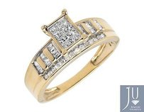 10k Yellow Gold Ladies Princess Baguette Genuine Diamond Engagement Ring 0.50ct