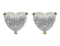 10k Yellow Gold Ladies Round Diamond 9mm Puffed Heart Studs Earrings 0.33 Ct