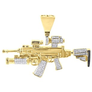10k Yellow Gold M4a1 Assault Rifle Diamond Pendant Mens Round Pave Charm 0.80 Ct