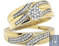 10k Yellow Gold Menladies Flower Swirl Diamond Wedding Ring Band Trio Set 12ct