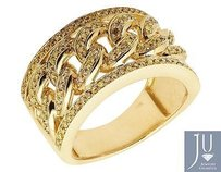 10k Yellow Gold Mens Pave Canary Genuine Diamond Cuban Link Pinky Ring 1ct