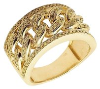 Other 10k Yellow Gold Mens Pave Canary Genuine Diamond Cuban Link Pinky Ring 1ct