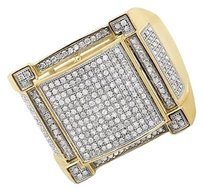 Other 10k Yellow Gold Mens Pave Square Genuine Diamond Wedding Pinky Ring 1.4ct 21m