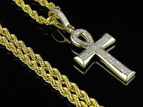 Other 10k Yellow Gold Micro Pave Genuine Diamond Ankh Cross Pendant Chain Combo 0.33ct