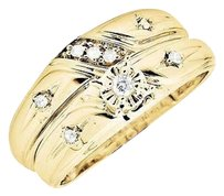 Other 10k Yellow Gold Miracle Set Diagonal Diamond Bridal Trio Wedding Ring Set 0.25ct