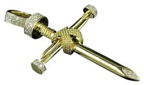 Other 10k Yellow Gold Nail Cross X Accent Genuine Diamond 1.75 Pendant Charm 0.50ct