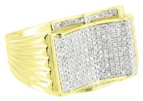 10k Yellow Gold Ring Mens Unique Wedding Micro Pave Diamonds Engagement Casual