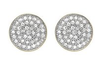 10k Yellow Gold Round Disc Pave Cluster Genuine Diamond 9mm Stud Earrings 0.60ct