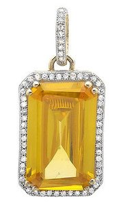 10k Yellow Gold Royal Emerald Cut Topaz 34 Inch Diamond Pendant Charm 14ct
