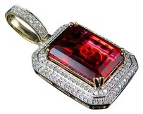 10k Yellow Gold Royal Red Ruby Genuine Diamond Charm Pendant 1.1 .65ct