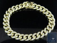 10k Yellow Gold Simulated Lab Diamond Miami Cuban Pave Set Bracelet Inches