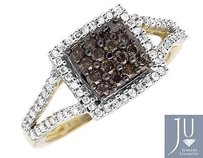 10k Yellow Gold Square Halo White And Cognac Brown Diamond Engagement Ring 12ct