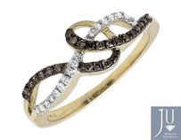 Other 10k Yellow Gold Swirl Loop Ribbon Cognac Brown And White Diamond Ring 0.20ct.