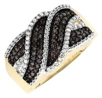 10k Yellow Gold Swirl Wave Brown And White Genuine Diamond Wide Ring Band 0.50ct