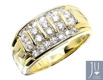 10k Yellow Gold Vertical Rows Genuine Diamond Wedding Band Pinky Ring 1.0ct