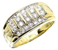 Other 10k Yellow Gold Vertical Rows Genuine Diamond Wedding Band Pinky Ring 1.0ct