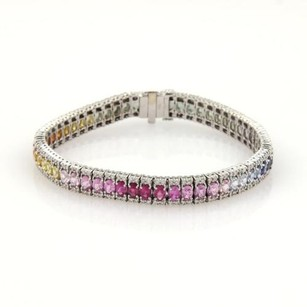 14.40ct Diamond Multi-color Sapphires Rainbow 18k Wgold Tennis Bracelet