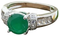 Other 1.45ctw 14k White Gold Filled Created Emerald & White Sapphire ring
