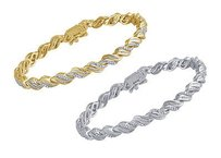 Other 14ct Tdw Natural Diamond Wave Tennis Bracelet In Gold Or Silver Plated Brass