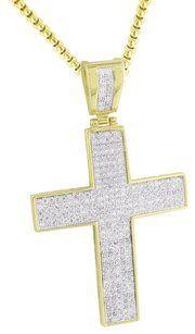14k Gold Finish Cross Pendant Simulated Diamonds Pave Set Box Necklace 24in